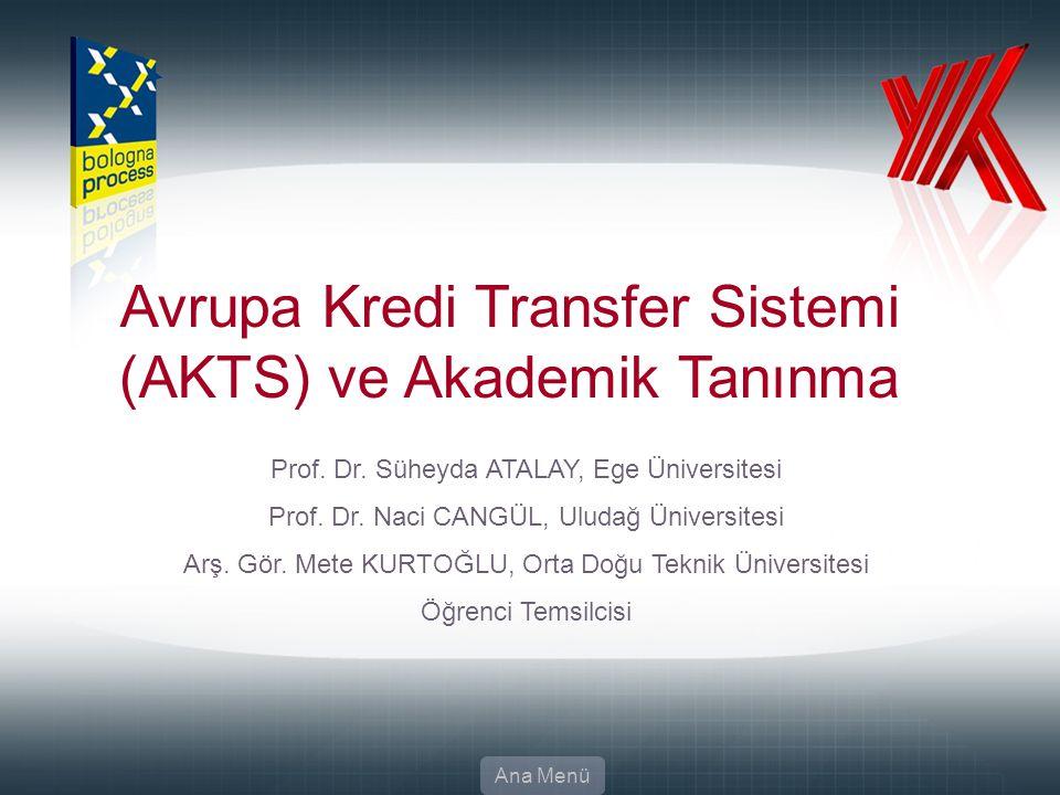 Avrupa Kredi Transfer Sistemi (AKTS) ve Akademik Tanınma
