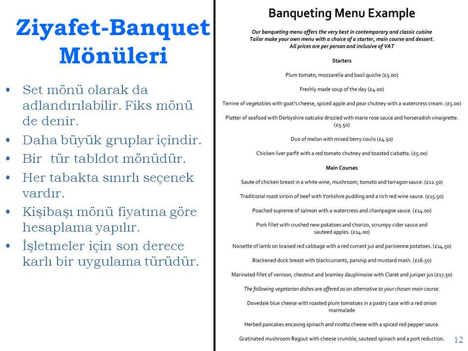 Ziyafet-Banquet Mönüleri