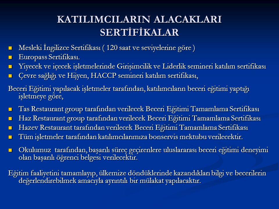 KATILIMCILARIN ALACAKLARI SERTİFİKALAR