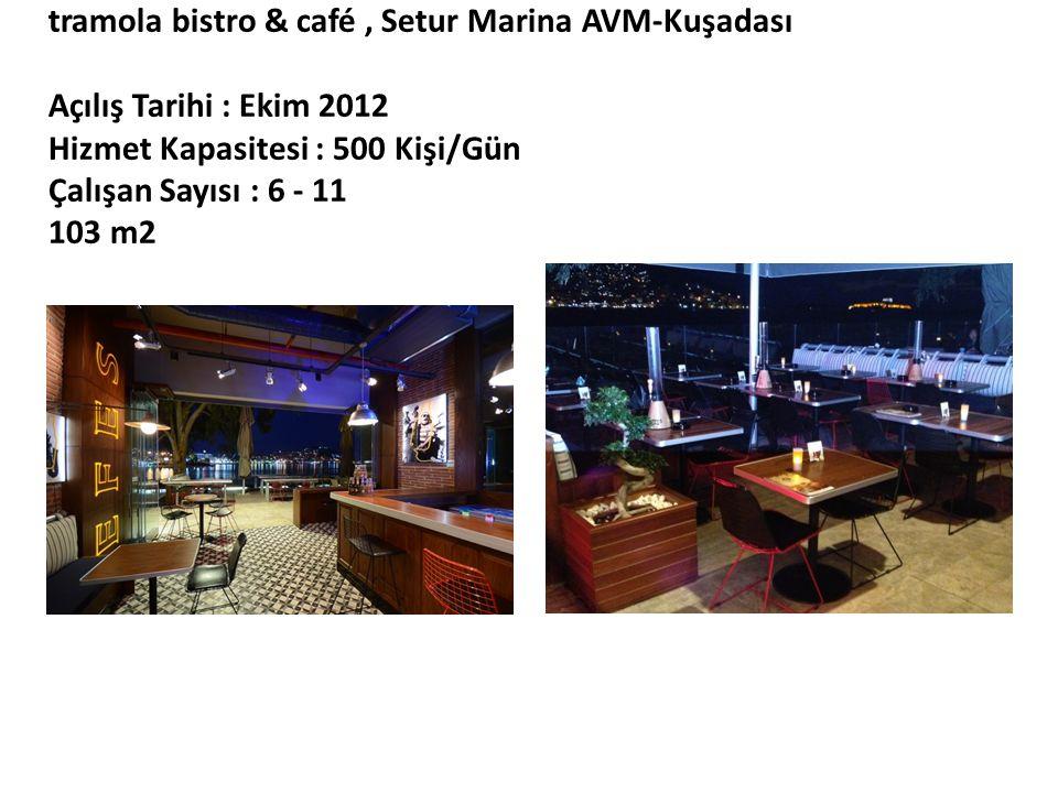 tramola bistro & café , Setur Marina AVM-Kuşadası Açılış Tarihi : Ekim 2012 Hizmet Kapasitesi : 500 Kişi/Gün Çalışan Sayısı : 6 - 11 103 m2