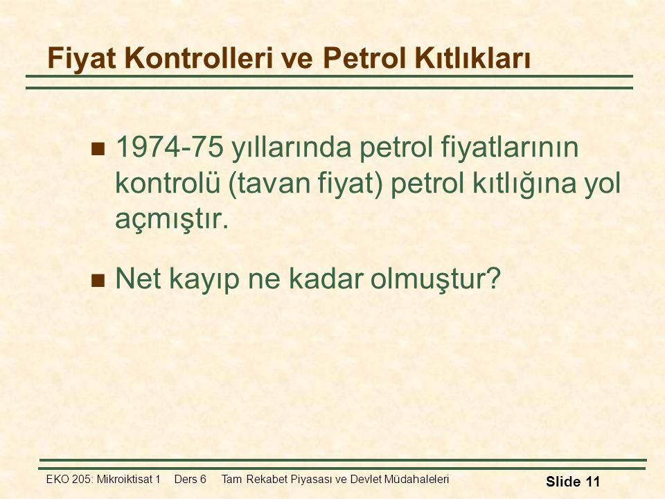 Fiyat Kontrolleri ve Petrol Kıtlıkları