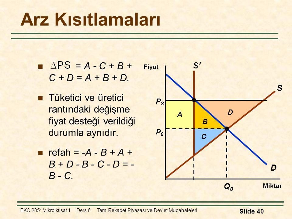 Arz Kısıtlamaları = A - C + B + C + D = A + B + D.