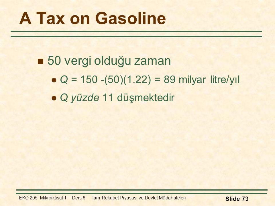 A Tax on Gasoline 50 vergi olduğu zaman
