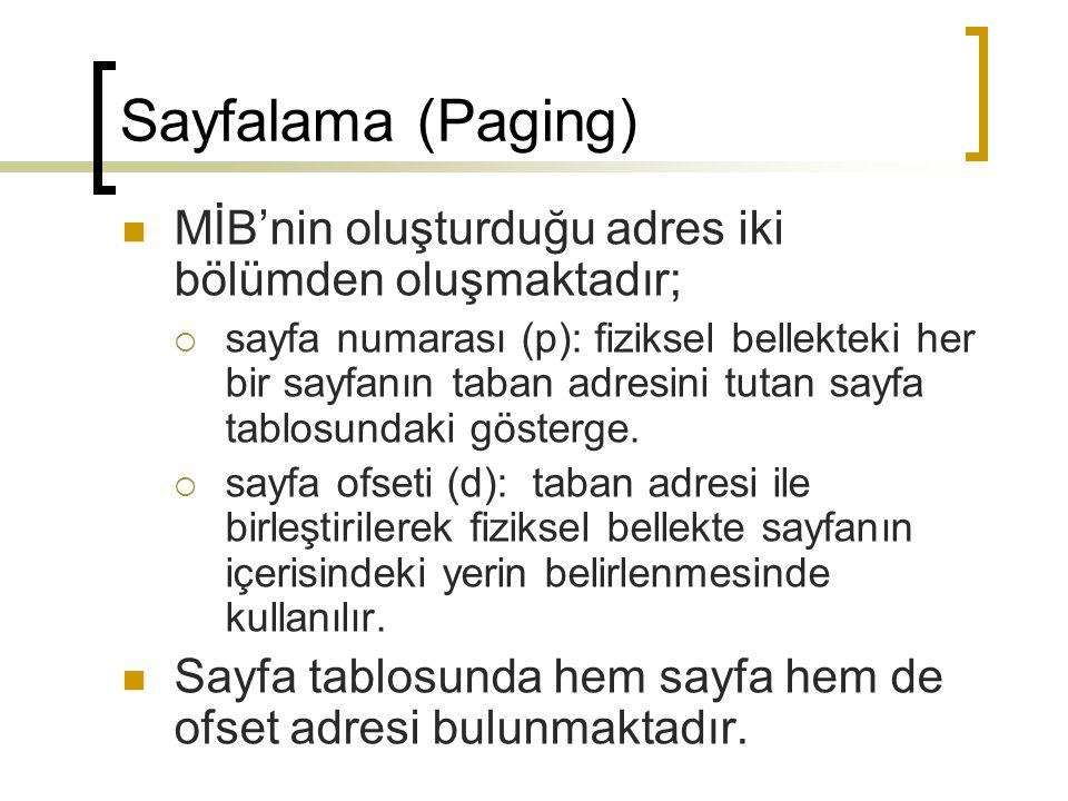 Sayfalama (Paging) MİB'nin oluşturduğu adres iki bölümden oluşmaktadır;