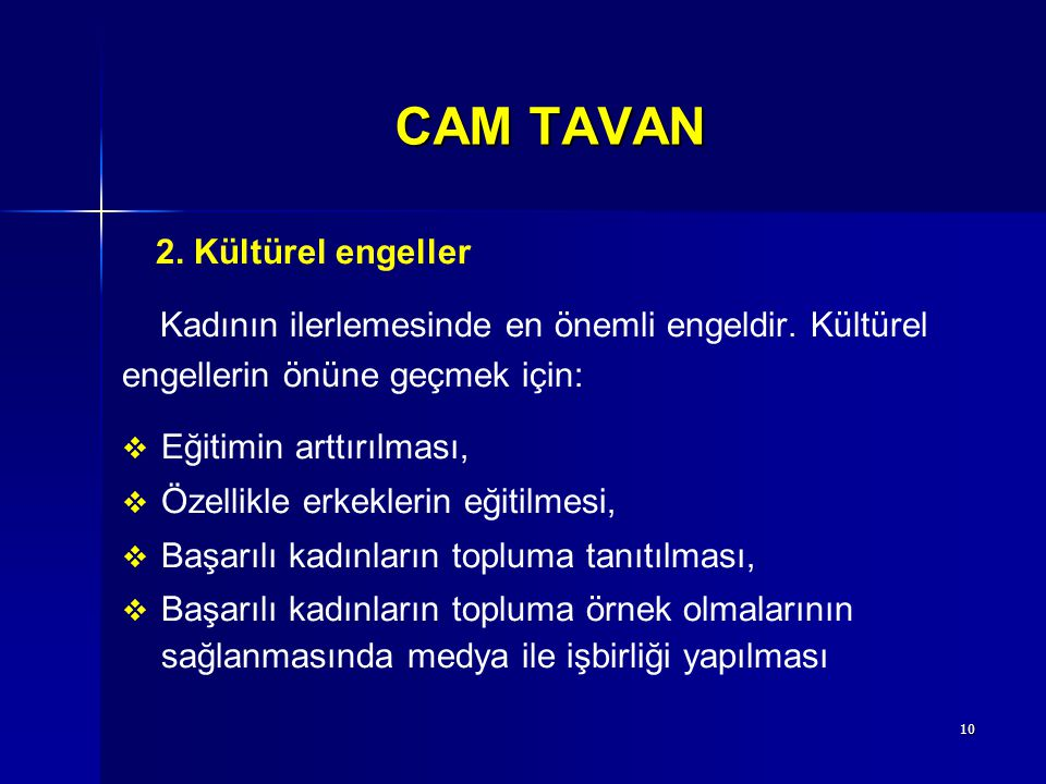 CAM TAVAN 2. Kültürel engeller