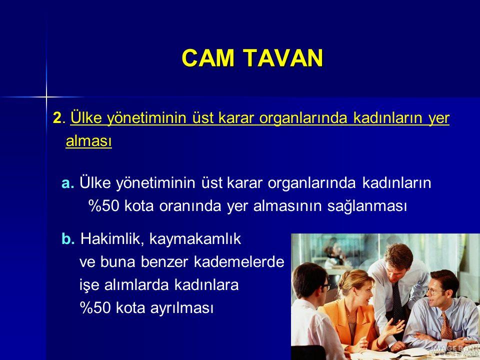 CAM TAVAN 2. Ülke yönetiminin üst karar organlarında kadınların yer