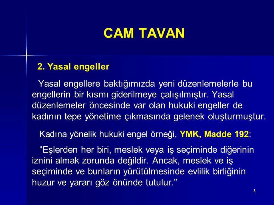 CAM TAVAN engellerin bir kısmı giderilmeye çalışılmıştır. Yasal