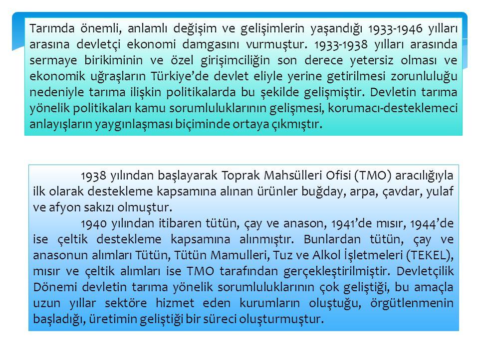 Tarımda önemli, anlamlı değişim ve gelişimlerin yaşandığı 1933-1946 yılları arasına devletçi ekonomi damgasını vurmuştur. 1933-1938 yılları arasında sermaye birikiminin ve özel girişimciliğin son derece yetersiz olması ve ekonomik uğraşların Türkiye'de devlet eliyle yerine getirilmesi zorunluluğu nedeniyle tarıma ilişkin politikalarda bu şekilde gelişmiştir. Devletin tarıma yönelik politikaları kamu sorumluluklarının gelişmesi, korumacı-desteklemeci anlayışların yaygınlaşması biçiminde ortaya çıkmıştır.
