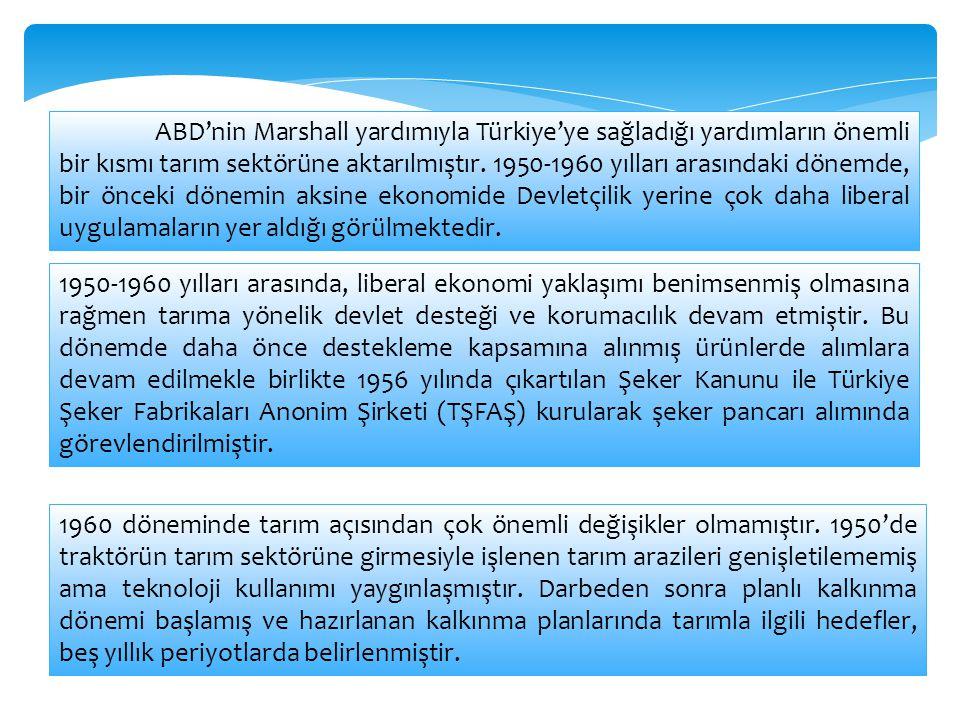 ABD'nin Marshall yardımıyla Türkiye'ye sağladığı yardımların önemli bir kısmı tarım sektörüne aktarılmıştır. 1950-1960 yılları arasındaki dönemde, bir önceki dönemin aksine ekonomide Devletçilik yerine çok daha liberal uygulamaların yer aldığı görülmektedir.