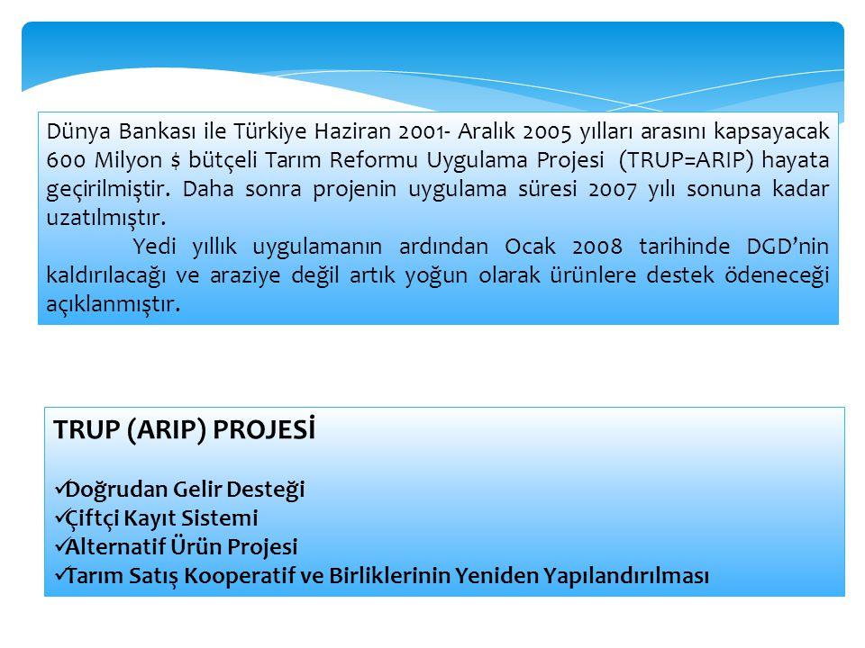 Dünya Bankası ile Türkiye Haziran 2001- Aralık 2005 yılları arasını kapsayacak 600 Milyon $ bütçeli Tarım Reformu Uygulama Projesi (TRUP=ARIP) hayata geçirilmiştir. Daha sonra projenin uygulama süresi 2007 yılı sonuna kadar uzatılmıştır.
