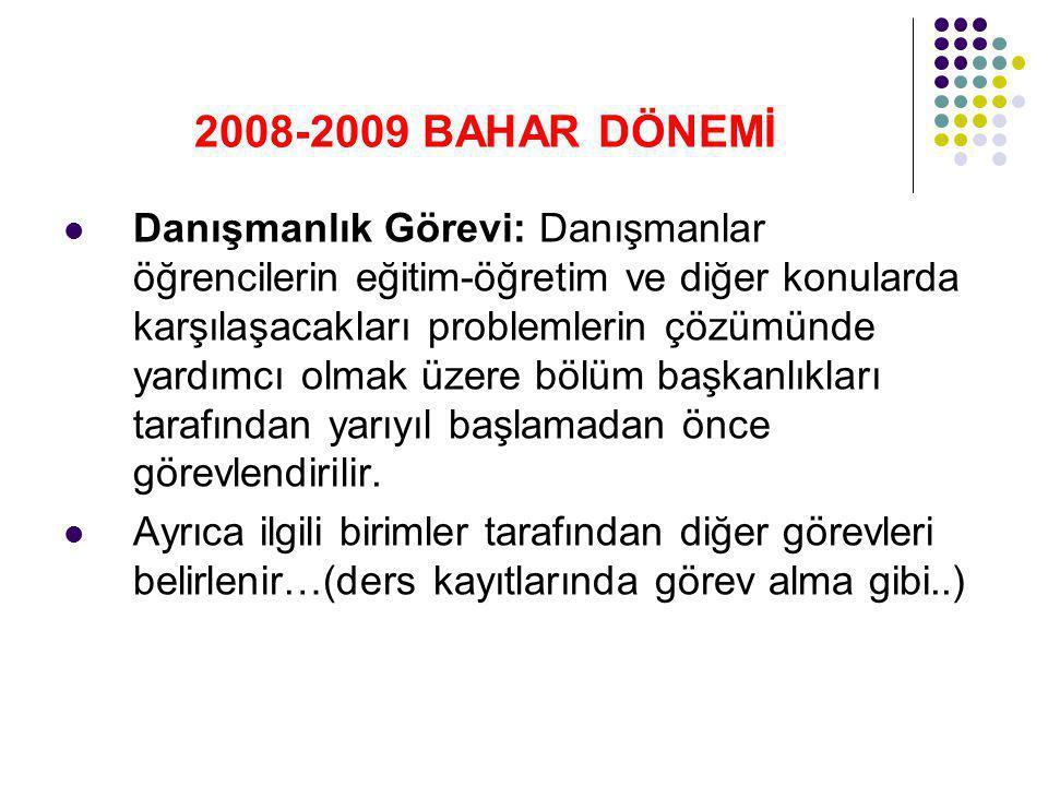 2008-2009 BAHAR DÖNEMİ