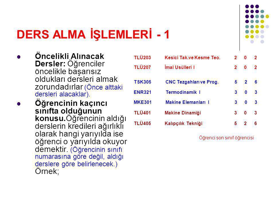 DERS ALMA İŞLEMLERİ - 1