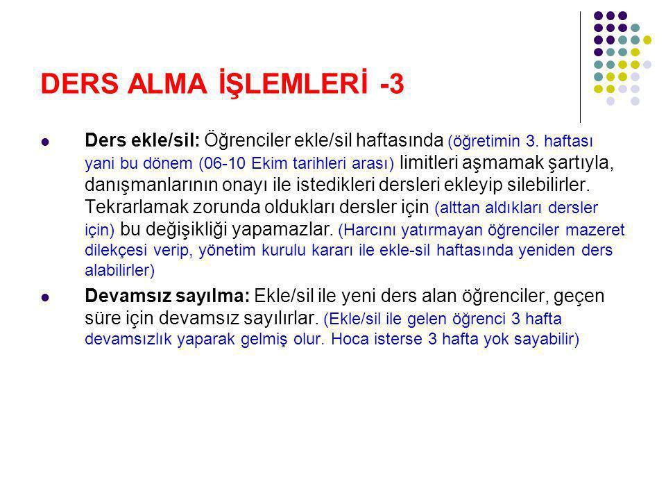 DERS ALMA İŞLEMLERİ -3