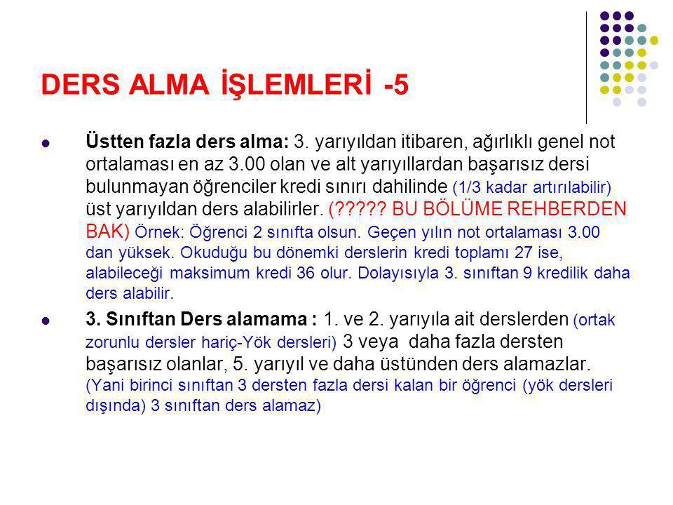 DERS ALMA İŞLEMLERİ -5