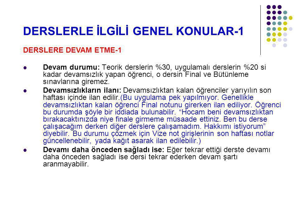DERSLERLE İLGİLİ GENEL KONULAR-1