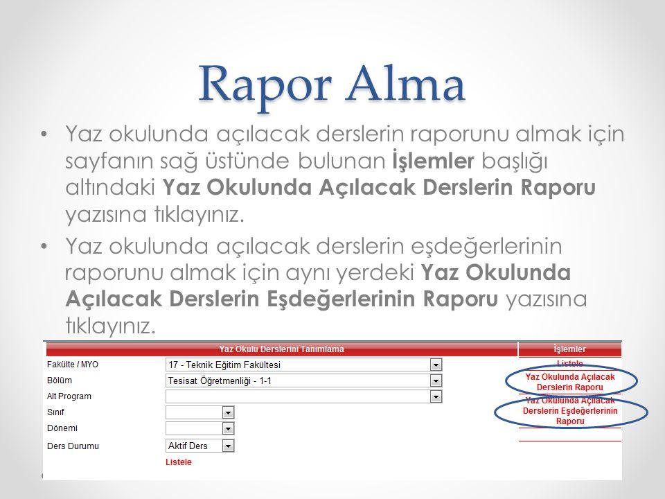 Rapor Alma
