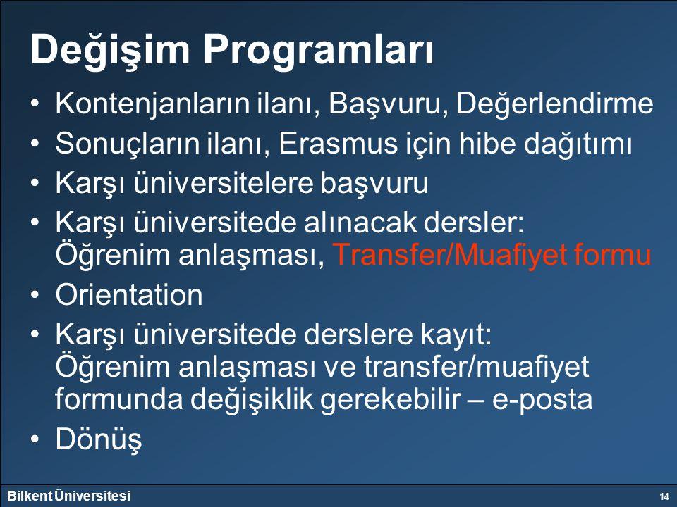 Değişim Programları Kontenjanların ilanı, Başvuru, Değerlendirme