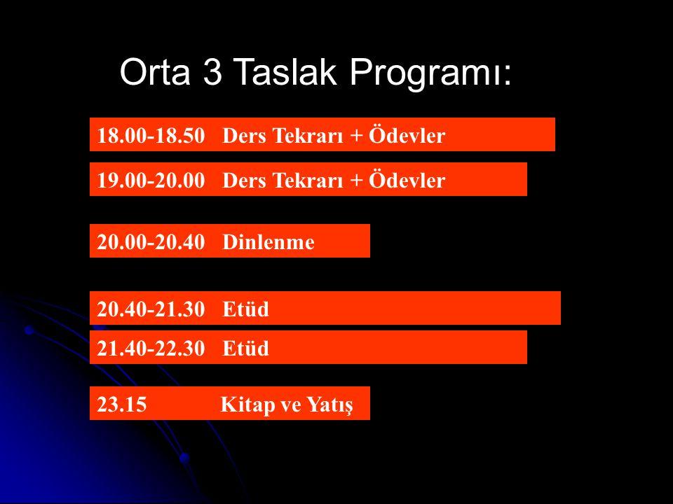Orta 3 Taslak Programı: 18.00-18.50 Ders Tekrarı + Ödevler