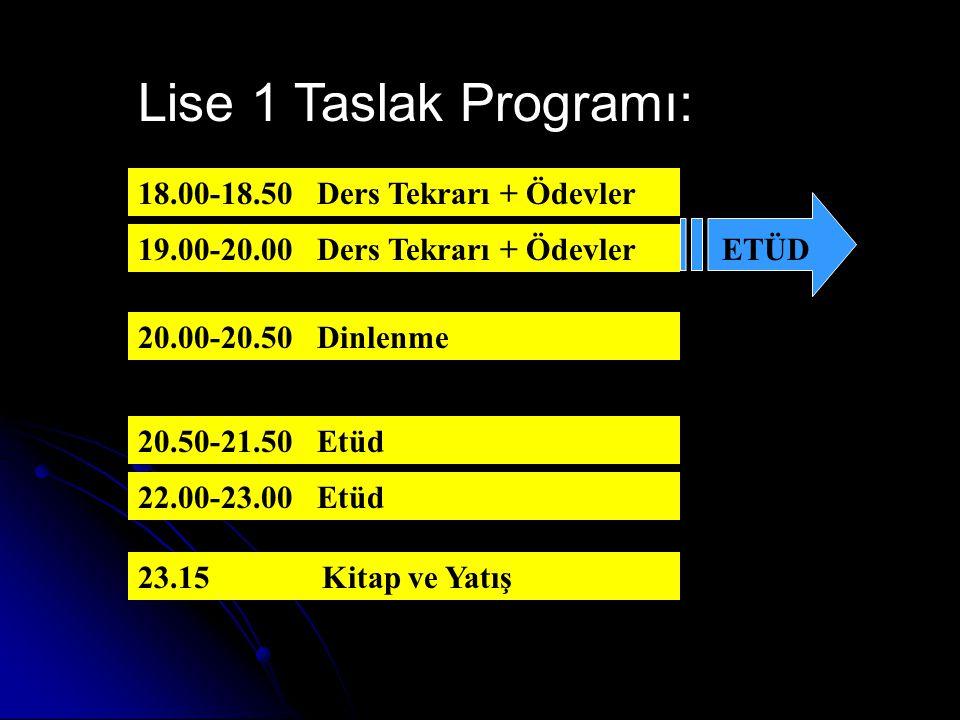 Lise 1 Taslak Programı: 18.00-18.50 Ders Tekrarı + Ödevler