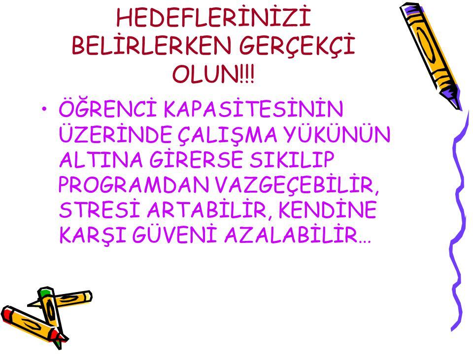 HEDEFLERİNİZİ BELİRLERKEN GERÇEKÇİ OLUN!!!