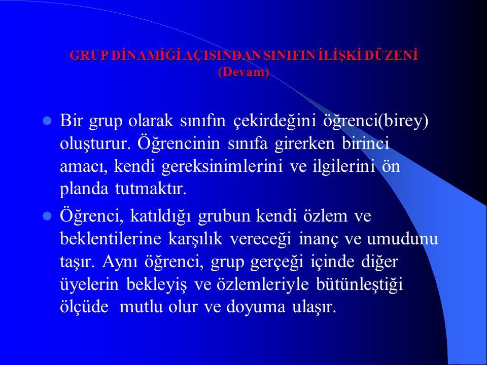 GRUP DİNAMİĞİ AÇISINDAN SINIFIN İLİŞKİ DÜZENİ (Devam)