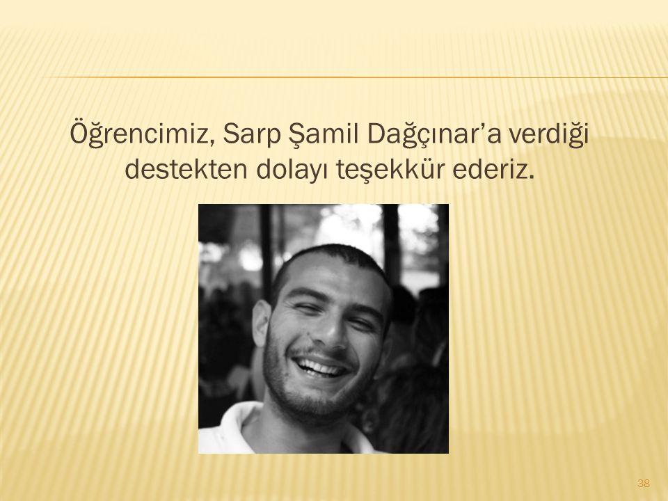 Öğrencimiz, Sarp Şamil Dağçınar'a verdiği destekten dolayı teşekkür ederiz.