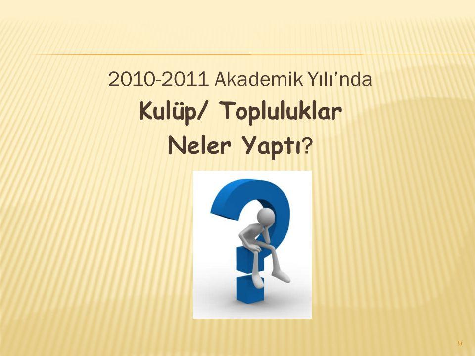 2010-2011 Akademik Yılı'nda Kulüp/ Topluluklar Neler Yaptı
