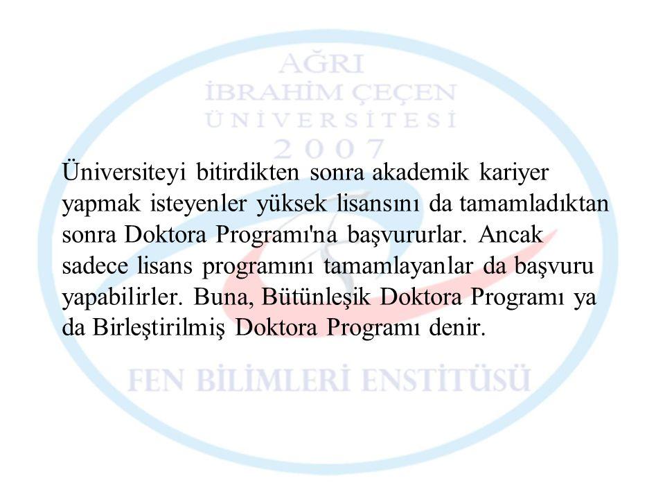 Üniversiteyi bitirdikten sonra akademik kariyer yapmak isteyenler yüksek lisansını da tamamladıktan sonra Doktora Programı na başvururlar.
