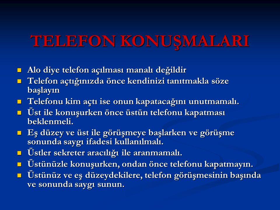 TELEFON KONUŞMALARI Alo diye telefon açılması manalı değildir
