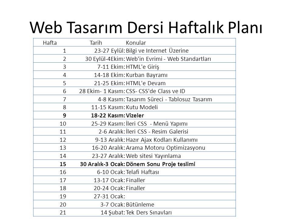 Web Tasarım Dersi Haftalık Planı