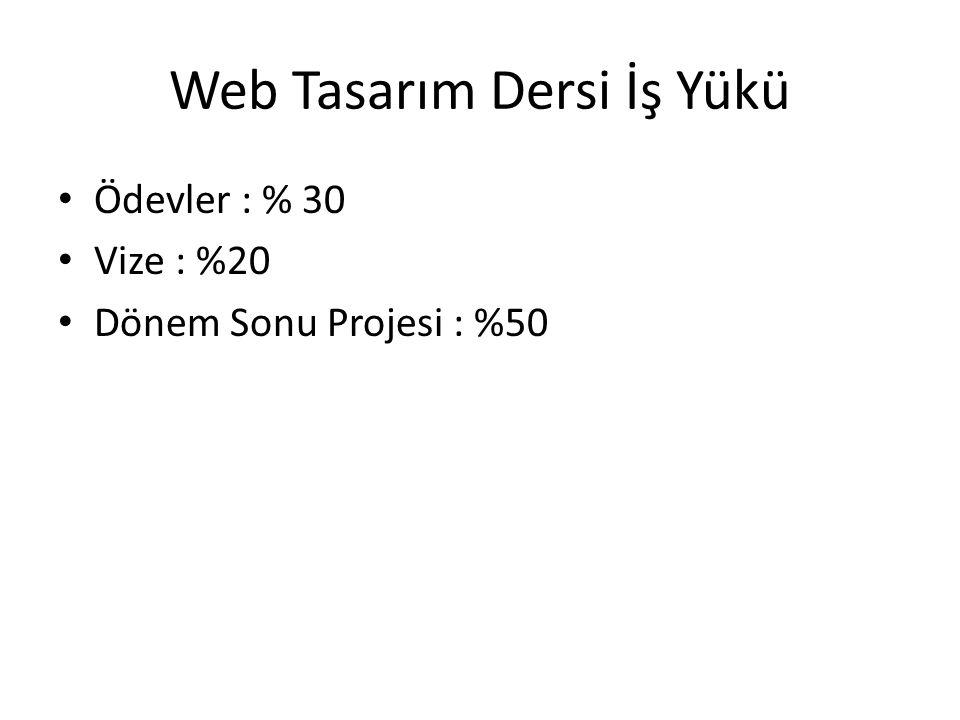 Web Tasarım Dersi İş Yükü