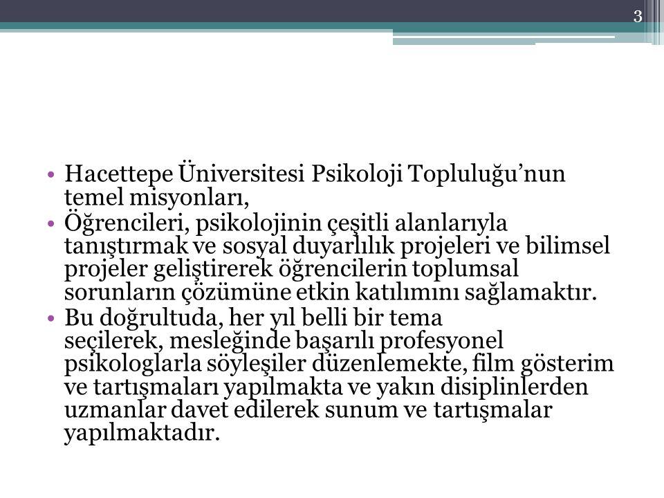Hacettepe Üniversitesi Psikoloji Topluluğu'nun temel misyonları,