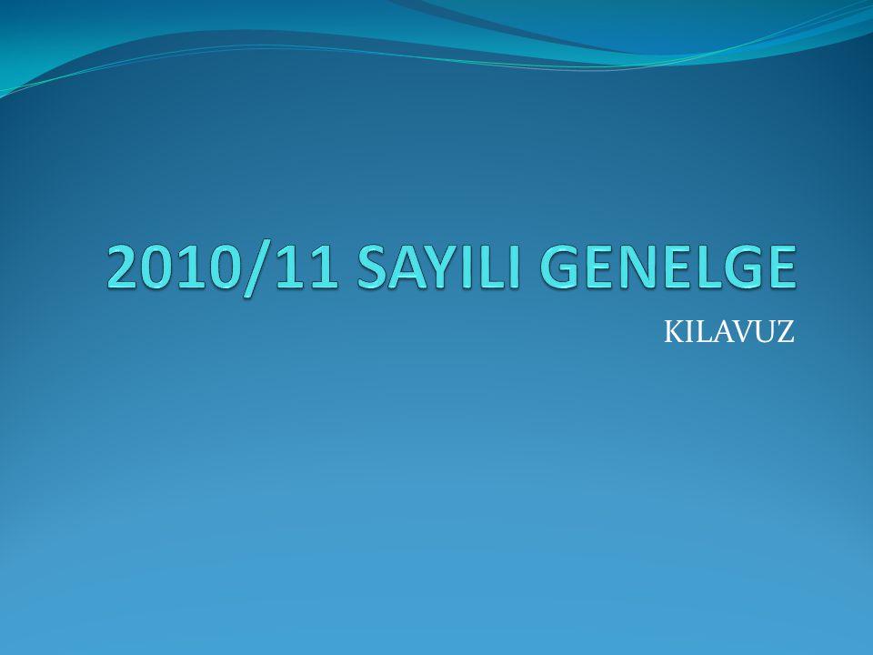 2010/11 SAYILI GENELGE KILAVUZ