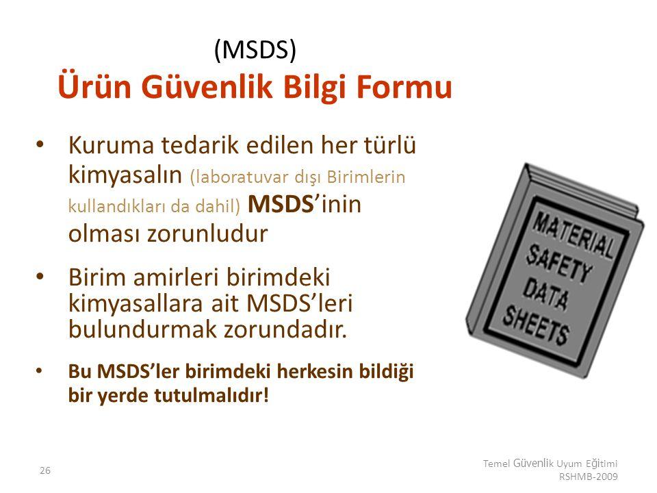(MSDS) Ürün Güvenlik Bilgi Formu