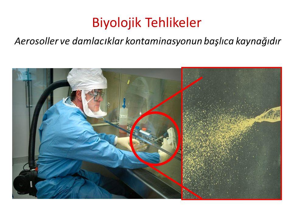 Biyolojik Tehlikeler Aerosoller ve damlacıklar kontaminasyonun başlıca kaynağıdır