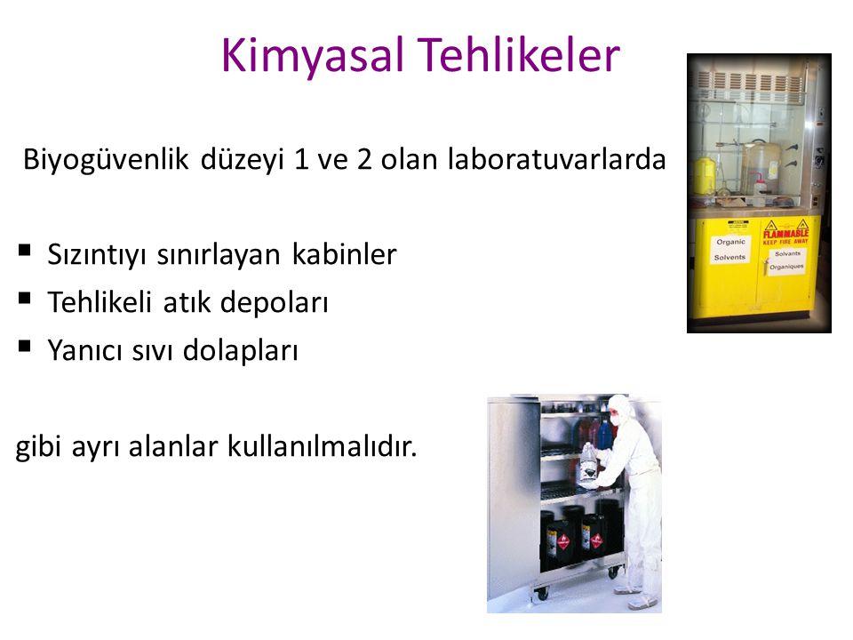Kimyasal Tehlikeler Biyogüvenlik düzeyi 1 ve 2 olan laboratuvarlarda