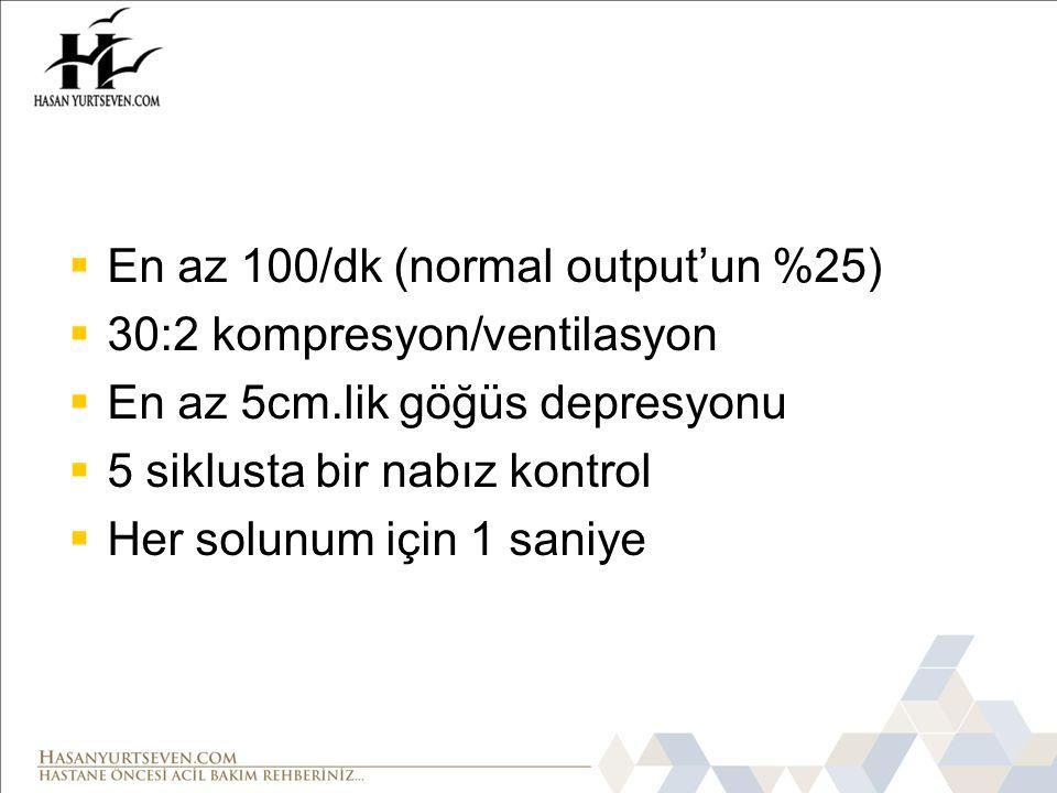 En az 100/dk (normal output'un %25)