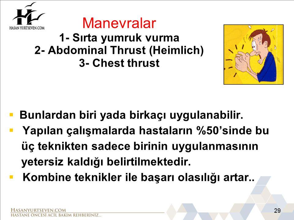 Manevralar 1- Sırta yumruk vurma 2- Abdominal Thrust (Heimlich) 3- Chest thrust
