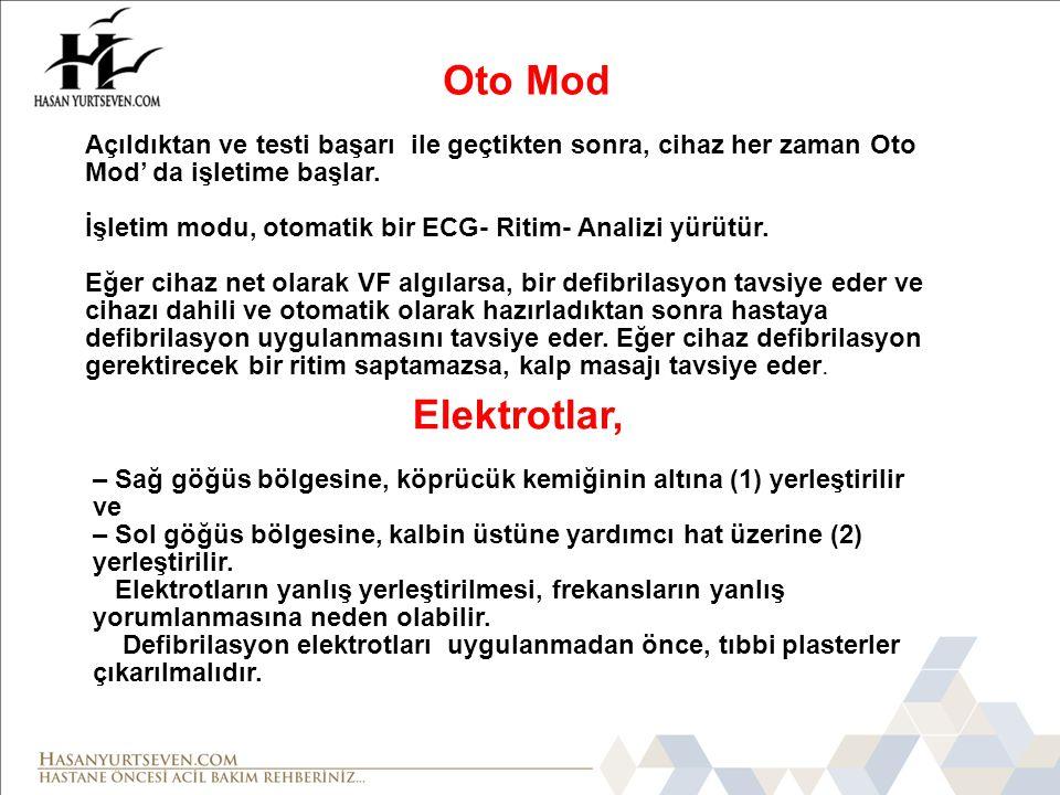 Oto Mod Açıldıktan ve testi başarı ile geçtikten sonra, cihaz her zaman Oto Mod' da işletime başlar.