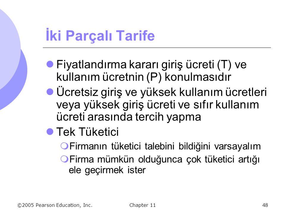 İki Parçalı Tarife Fiyatlandırma kararı giriş ücreti (T) ve kullanım ücretnin (P) konulmasıdır.