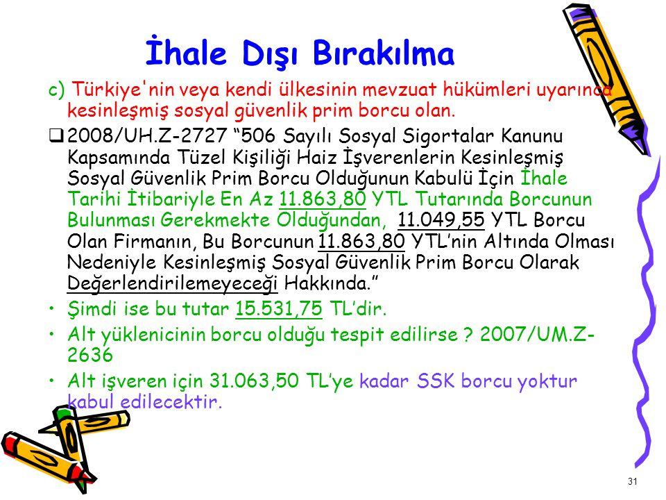 İhale Dışı Bırakılma c) Türkiye nin veya kendi ülkesinin mevzuat hükümleri uyarınca kesinleşmiş sosyal güvenlik prim borcu olan.