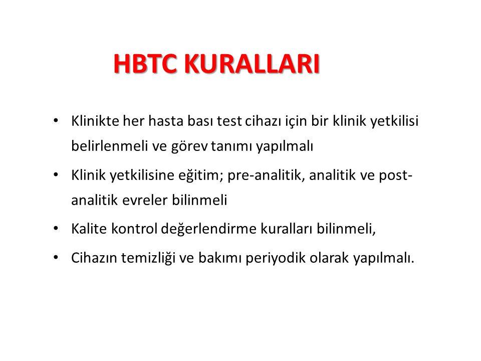 HBTC KURALLARI Klinikte her hasta bası test cihazı için bir klinik yetkilisi belirlenmeli ve görev tanımı yapılmalı.