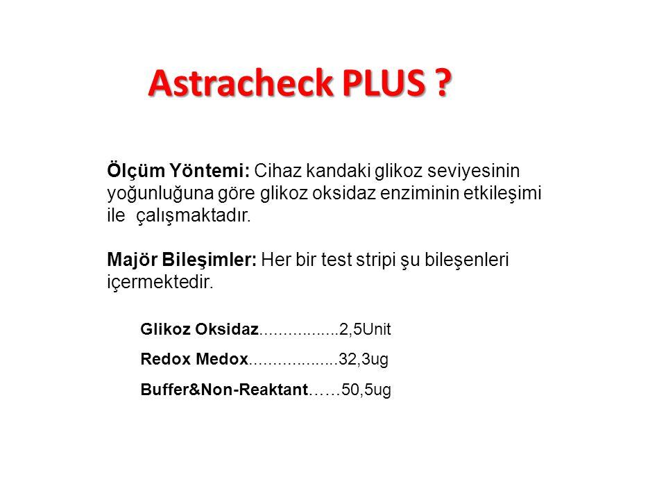 Astracheck PLUS Ölçüm Yöntemi: Cihaz kandaki glikoz seviyesinin yoğunluğuna göre glikoz oksidaz enziminin etkileşimi ile çalışmaktadır.