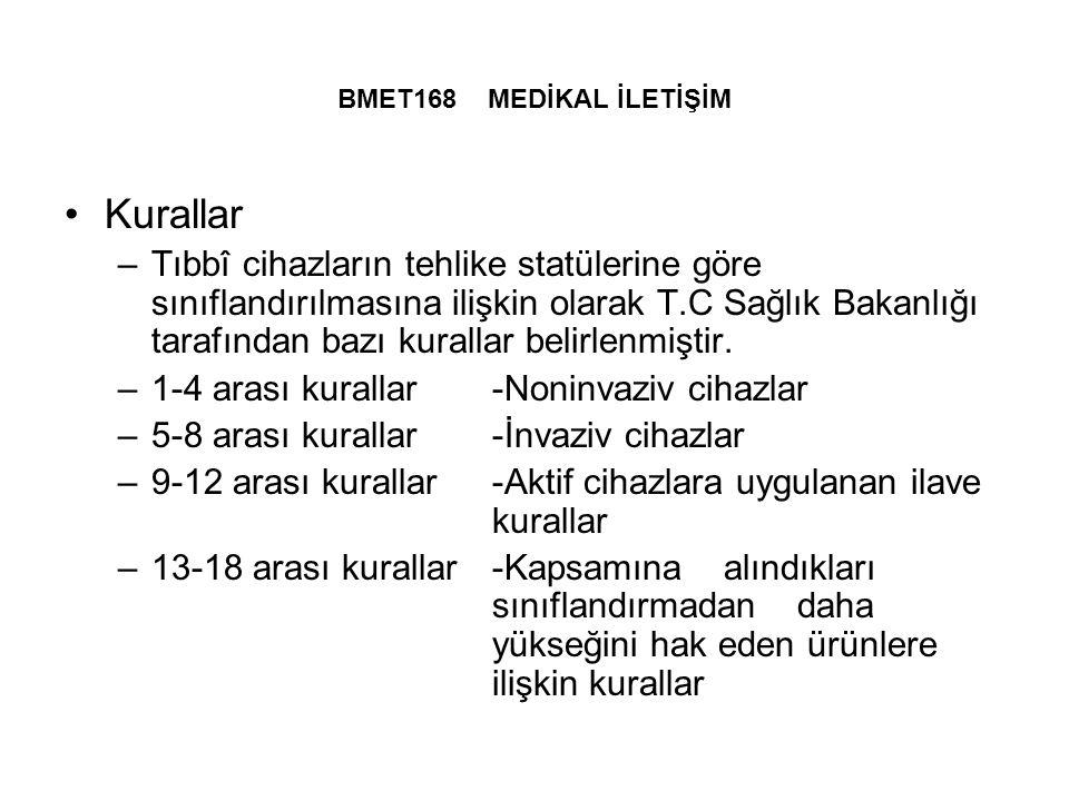 BMET168 MEDİKAL İLETİŞİM Kurallar.