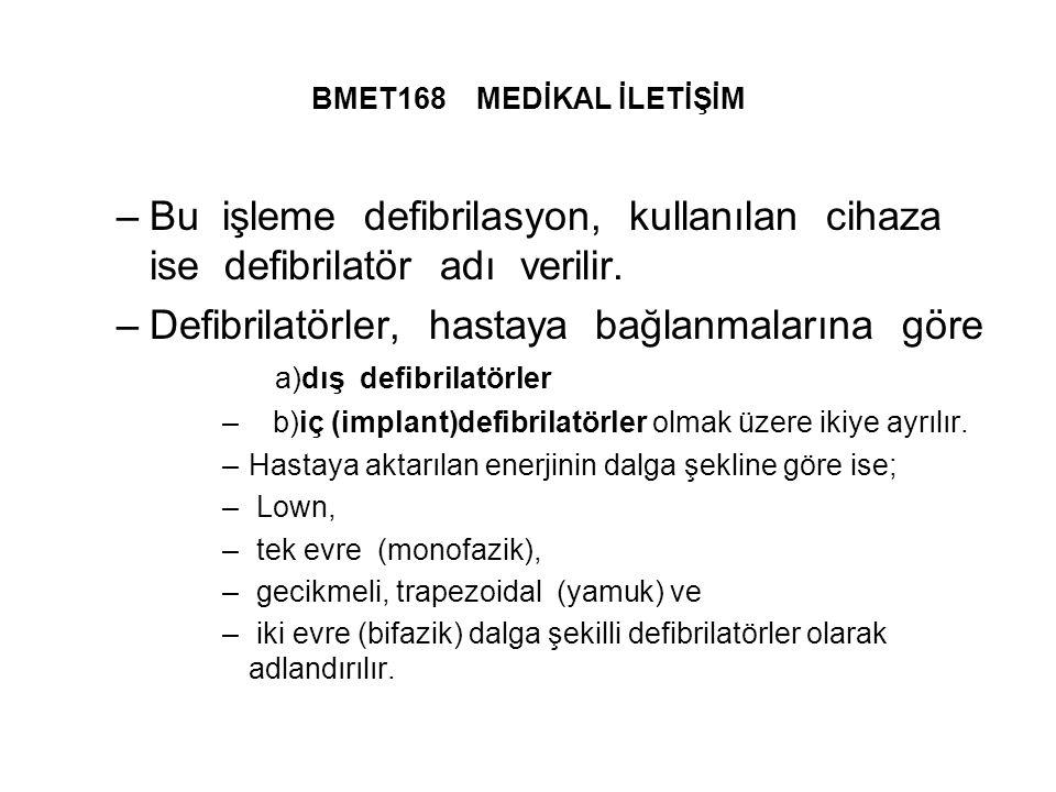 Defibrilatörler, hastaya bağlanmalarına göre a)dış defibrilatörler
