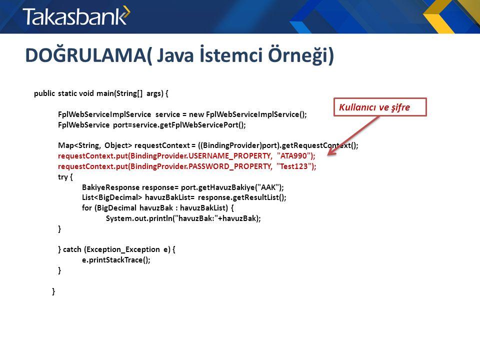 DOĞRULAMA( Java İstemci Örneği)