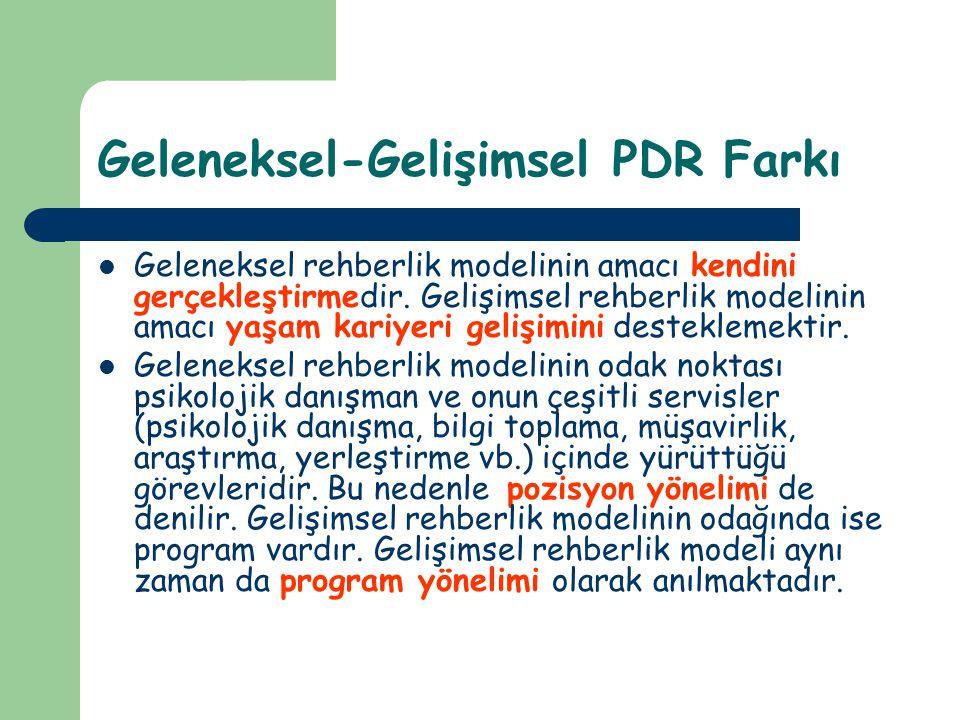 Geleneksel-Gelişimsel PDR Farkı