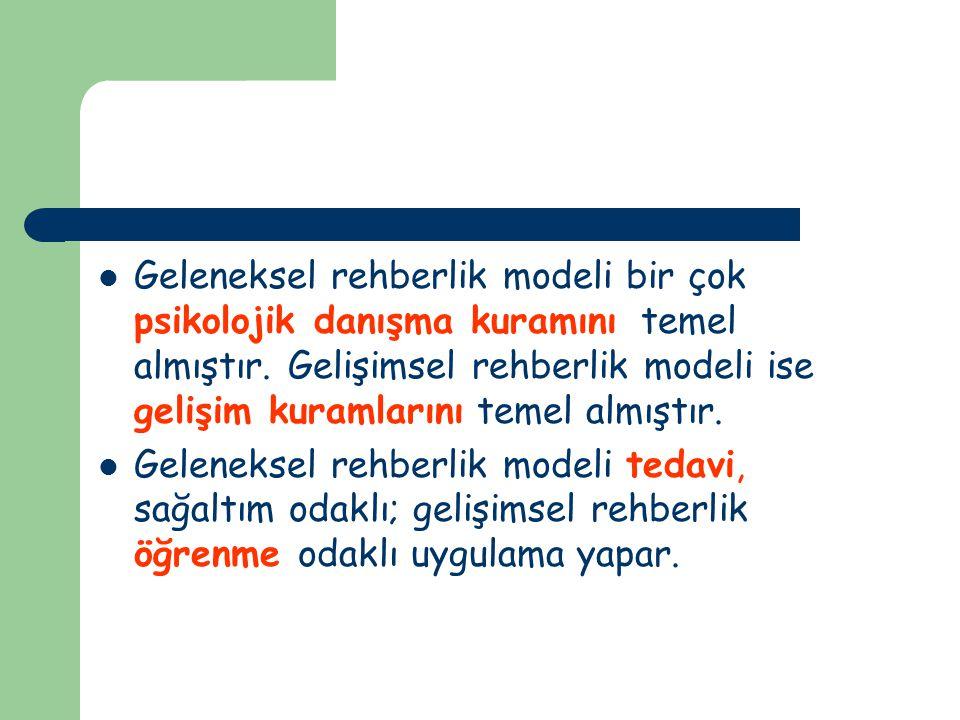 Geleneksel rehberlik modeli bir çok psikolojik danışma kuramını temel almıştır. Gelişimsel rehberlik modeli ise gelişim kuramlarını temel almıştır.