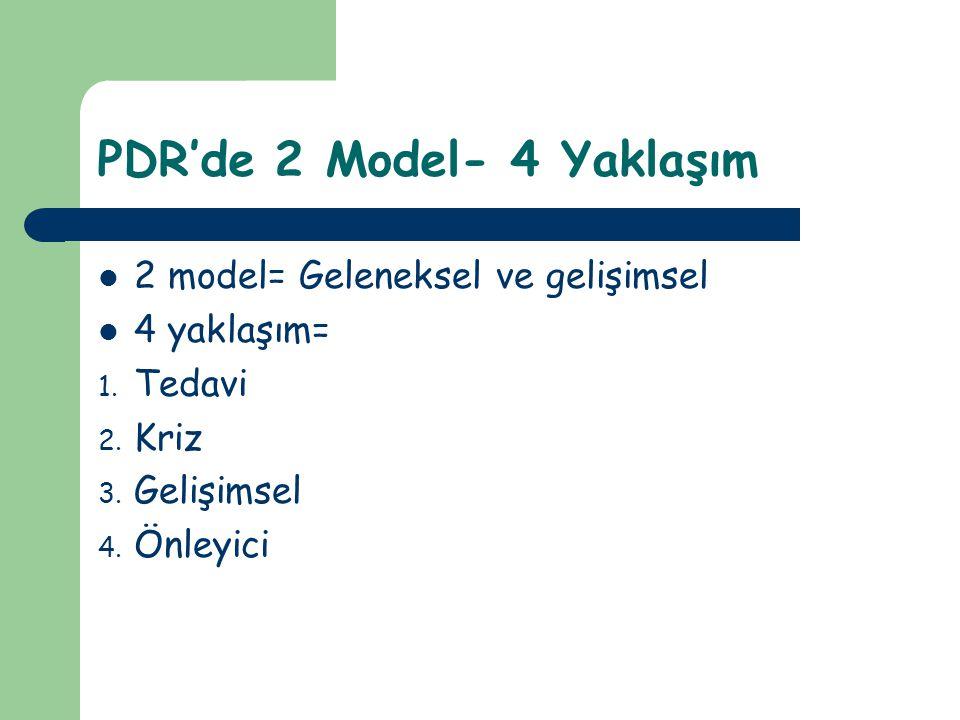 PDR'de 2 Model- 4 Yaklaşım
