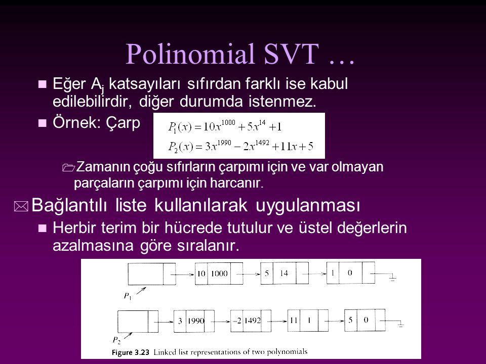 Polinomial SVT … Bağlantılı liste kullanılarak uygulanması